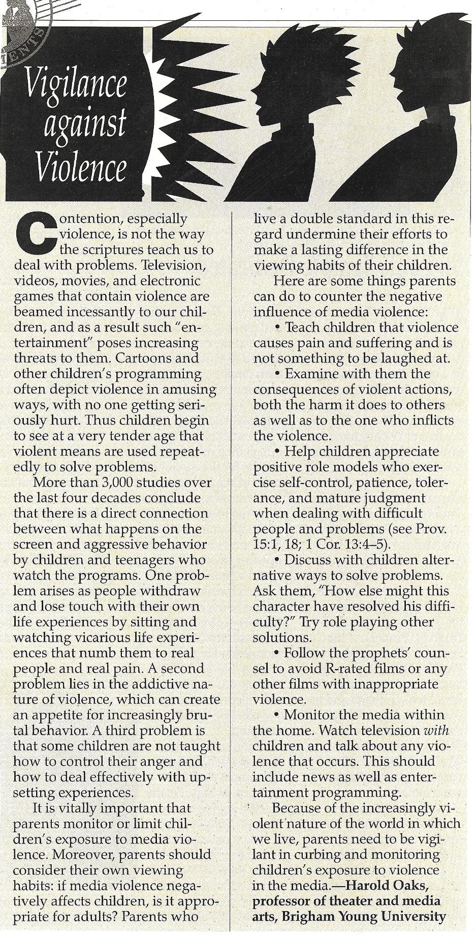 does violence media affect children and should parents deal