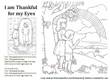 I am thankful for my eyes coloring sheet