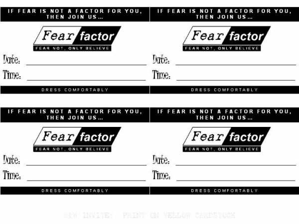 Fear Not Only Believe Fear Factor – Fear Factor Party Invitations