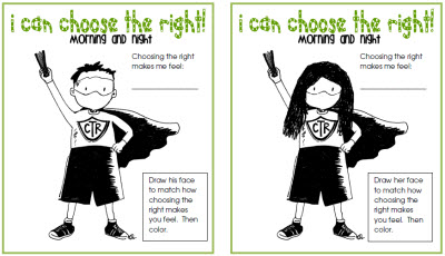 have each child sign their name on the line promising to do their best to choose the right - Choose The Right Coloring Page