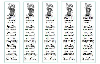 cub scout calendar bookmarks