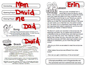 2011 fhe lessons that correspond to monthly primary theme