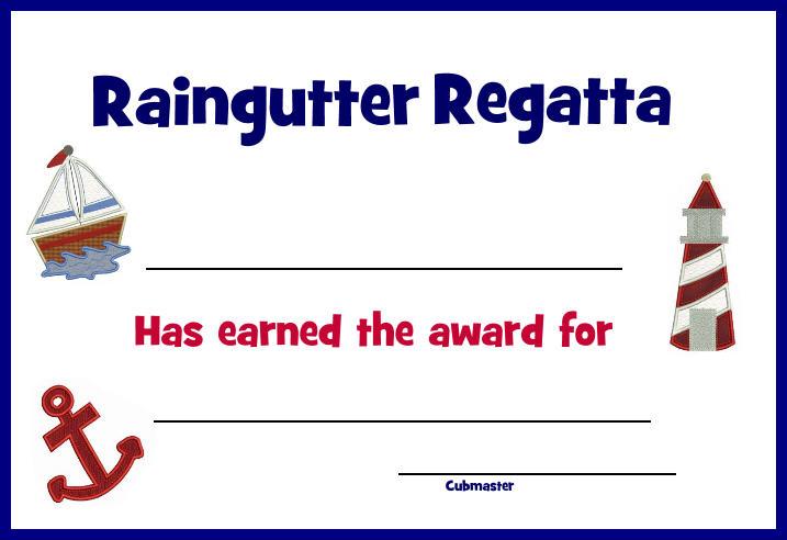 Raingutter Regatta Award