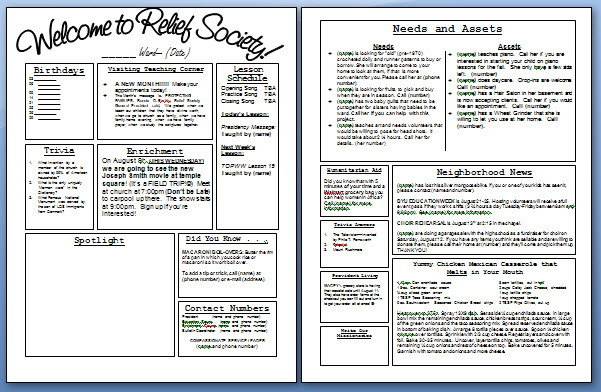 Relief Society Newsletter Template - August newsletter template